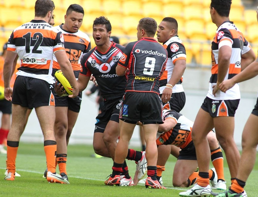Second rower Michael Ki scored twice in the Vodafone Junior Warriors' win against Brisbane. Image | wwww.photosport.co.nz
