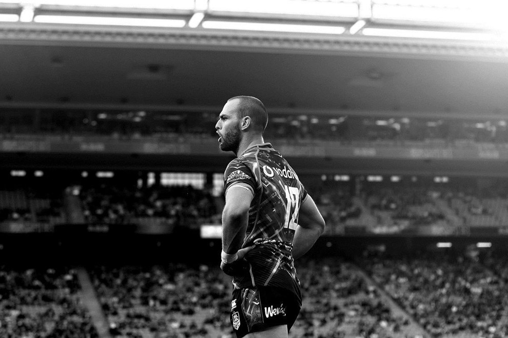 Warriors' Simon Mannering reacts. Round two Telstra Premiership NRL match, Vodafone Warriors v St George Illawarra Dragons, Eden Park, Auckland, New Zealand. Saturday 15th March 2014. Photo: photosport.co.nz