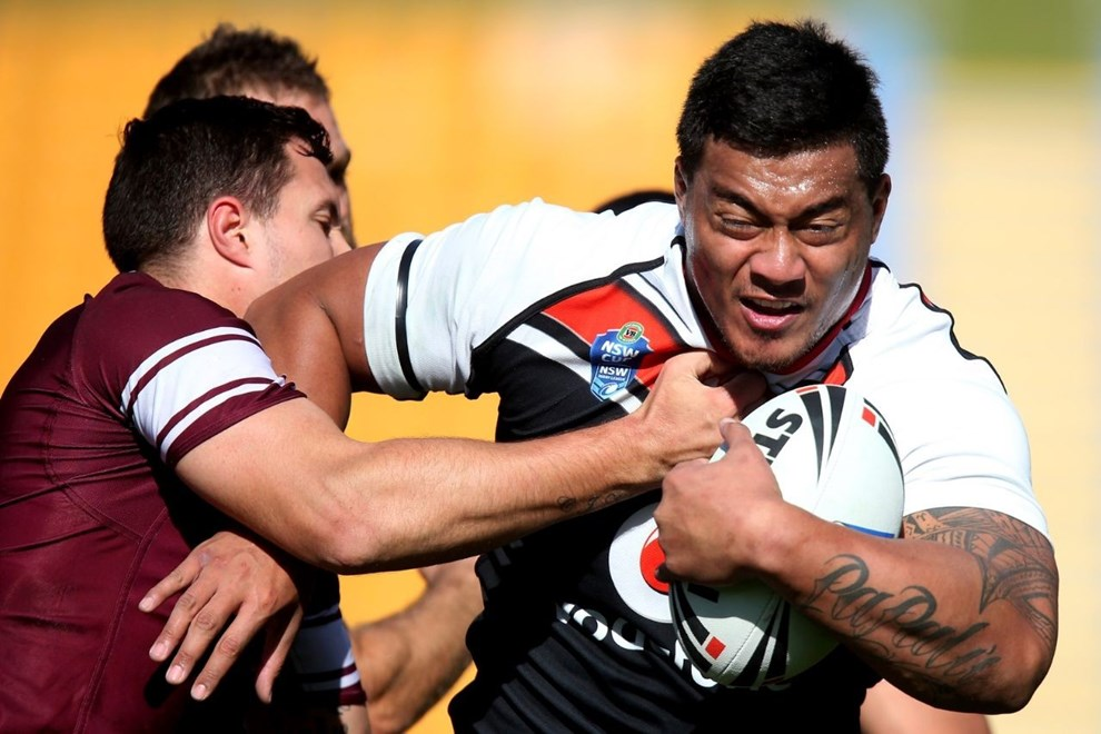 Abraham Papalii of the Warriors in action. New Zealand Warriors v Manly Sea Eagles. NSW Cup rugby league match at Mount Smart Stadium, Auckland, New Zealand. Sunday 27 July 2014. Photo: Jason Oxenham/Photosport.co.nz