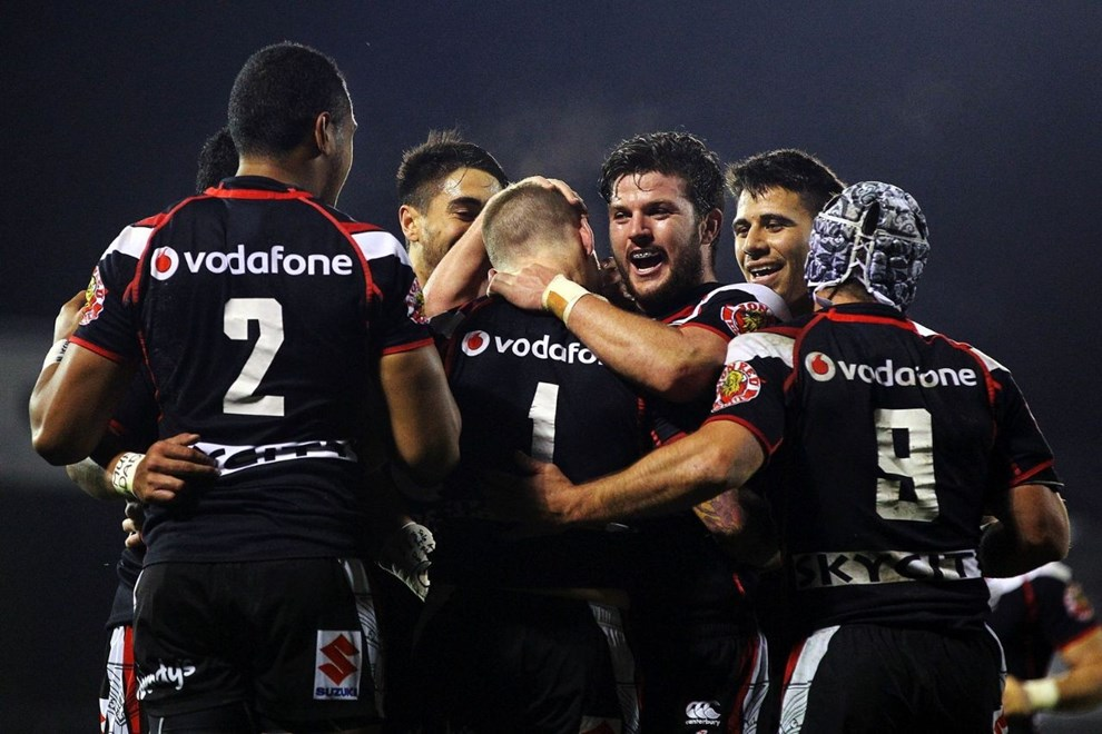 Try-time celebration after Chad Townsend's touchdown against Parramatta on Saturday night. Image | www.photosport.co.nz