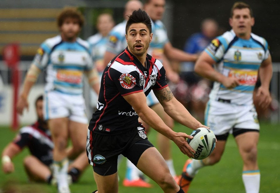 Shaun Johnson. Vodafone Warriors v Gold Coast Titans. NRL Rugby League. Mt Smart Stadium, Auckland, New Zealand. Sunday 31 August 2014. Photo: Andrew Cornaga/www.Photosport.co.nz