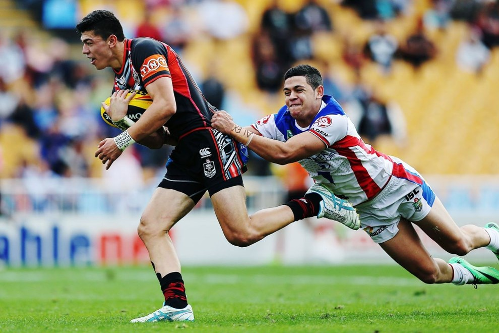 Fullback Brad Abbey had the Vodafone Junior Warriors' opening try in the first minute against Newcastle today. Image | www. photosport.co.nz