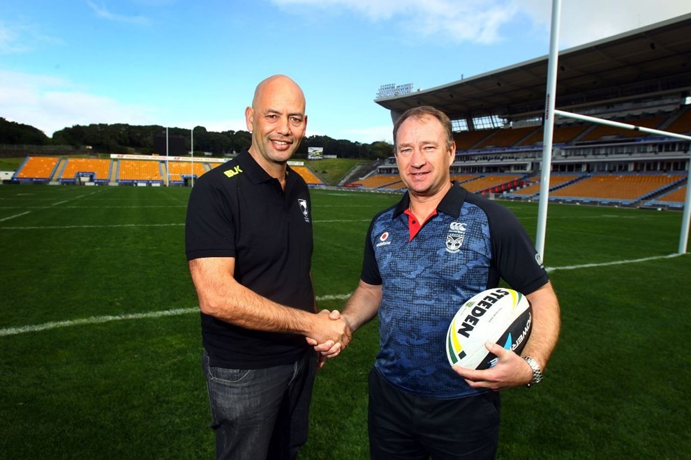 NZRL general manager high performance Tony Iro (left) and Vodafone Warriors general manager football Dean Bell seal the deal on the joint youth initiative announced between the two organisations. Image | www.photosport.co.nz