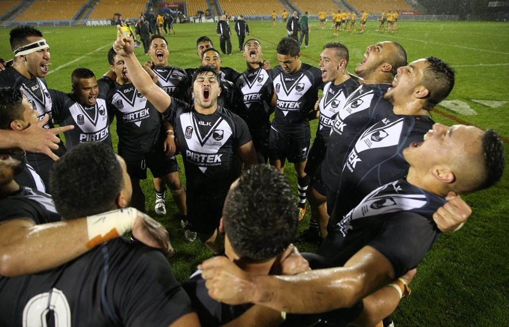 The Junior Kiwis celebrate with a haka after winning 15-14 against Australia in the Junior Kiwis vs Junior Kangaroos rugby league international match played at Mt Smart Stadium in Auckland, 18 October 2014. .Credit; Peter Meecham/ www.photosport.co.nz