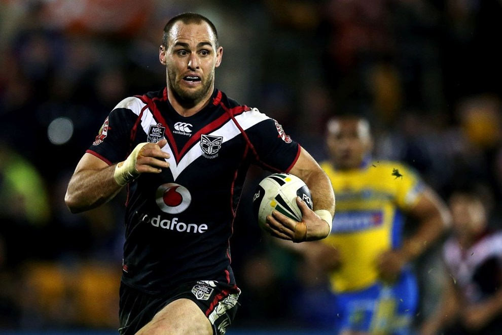 Simon Mannering of the Warriors makes a break. Round 18 NRL Telstra Premiership game, Vodafone Warriors v Parramatta Eels, Mt Smart Stadium, Auckland, New Zealand. Saturday 12th July 2014. Photo: photosport.co.nz