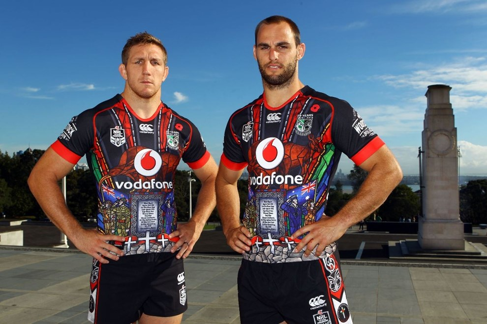 Ryan Hoffman (L) and Simon Mannering during the unveiling of the ANZAC playing shirt the Vodafone Warriors will be wearing during their match against the Titans on ANZAC day. Auckland Museum, New Zealand. 25 March 2015. Copyright Photo: William Booth / www.photosport.co.nz