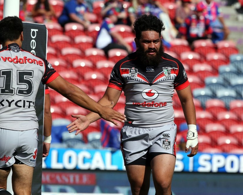 Konrad Hurrell prepares with Ben Henry.Knights v Warriors NRL rugby league match at Hunter Stadium, Newcastle Australia. Saturday 7 March 2015. Photo: Paul Seiser/Photosport.co.nz