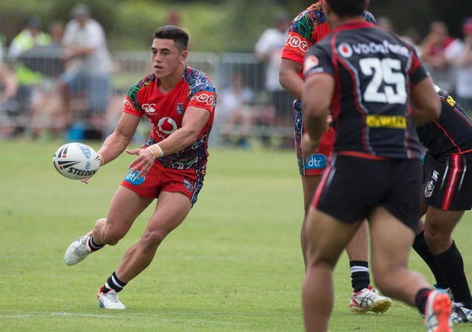 Nathaniel Roache in action for the Vodafone Junior Warriors  before the Warriors NRL v Warriors NSW Cup Trial Match,  held at Bruce Pulman Park in Papakura, South Auckland  on 21 February 2015. .Credit; Peter Meecham/ www.photosport.co.nz