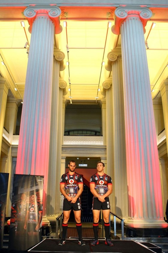 Simon Mannering (L) and Ryan Hoffman during the unveiling of the ANZAC playing shirt the Vodafone Warriors will be wearing during their match against the Titans on ANZAC day. Auckland Museum, New Zealand. 25 March 2015. Copyright Photo: William Booth / www.photosport.co.nz