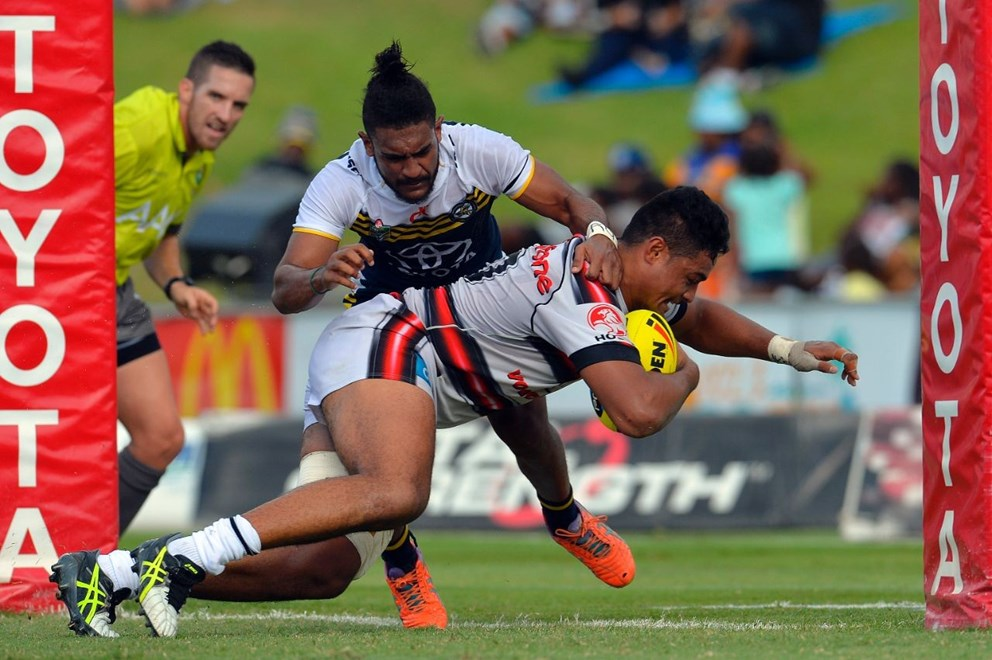 Vodafone Junior Warriors captain Toafofoa Sipley  scores against the Cowboys, one of seven tries he has scored in nine NYC games so far this season.