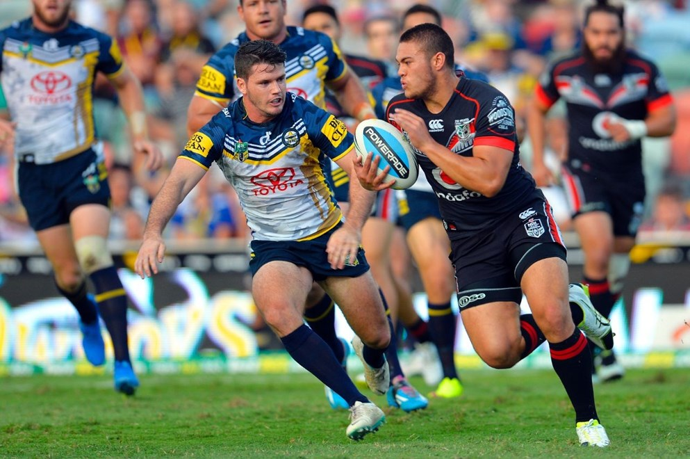 Round 7 NRL Match between the NQ Cowboys and the NZ Warriors at 1300Smiles Stadium, Townsville, Queensland, Australia. Warriors' Tuimoala Lolohea and Cowboy's Lachlan Coote. Picture: Wesley Monts/News Limited