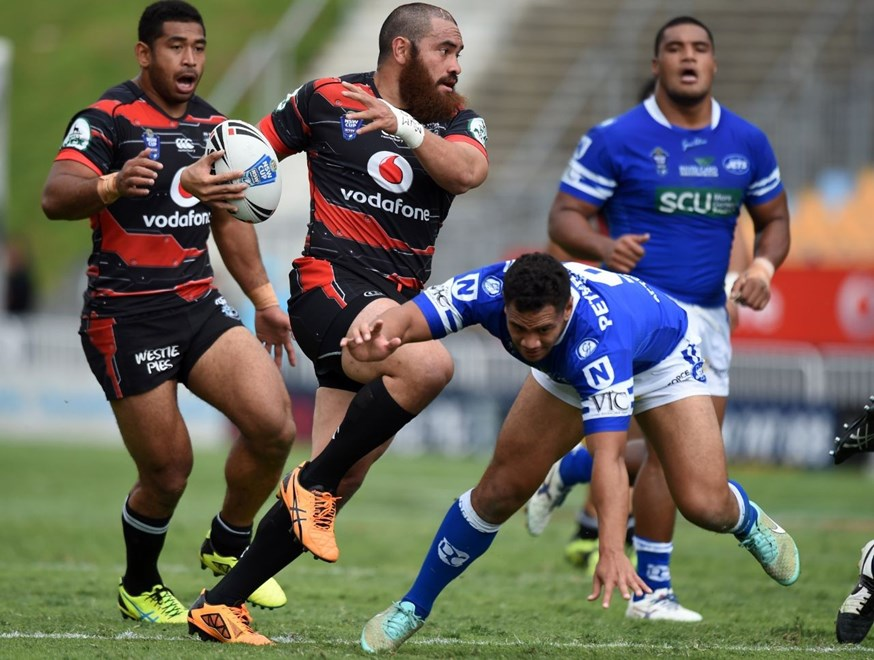 Konrad Hurrell on the charge. Vodafone Warriors v  Newtown Jets VB NSW Cup Rugby League. Mt Smart Stadium, Auckland. New Zealand. Anzac Day Saturday 25 April 2015. Copyright Photo: Andrew Cornaga/www.Photosport.co.nz