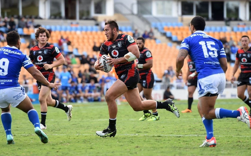 Front rower Nathaniel Peteru picked up a double in the Vodafone Warriors' New South Wales Cup clash against Manly on Saturday. Image | www.photosport.co.nz