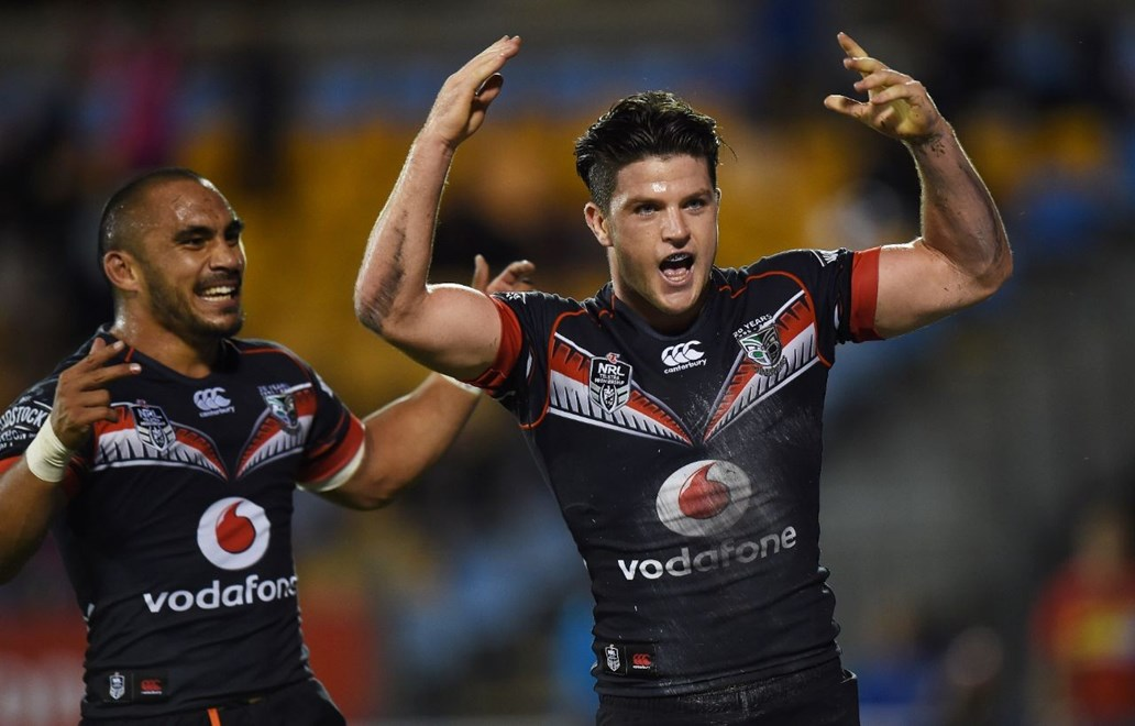 Chad Townsend celebrates his try during the NRL Rugby League match between the Vodafone Warriors and West Tigers at Mt Smart Stadium, Auckland, New Zealand. Saturday 11 April 2015. Copyright Photo: Andrew Cornaga / www.Photosport.co.nz
