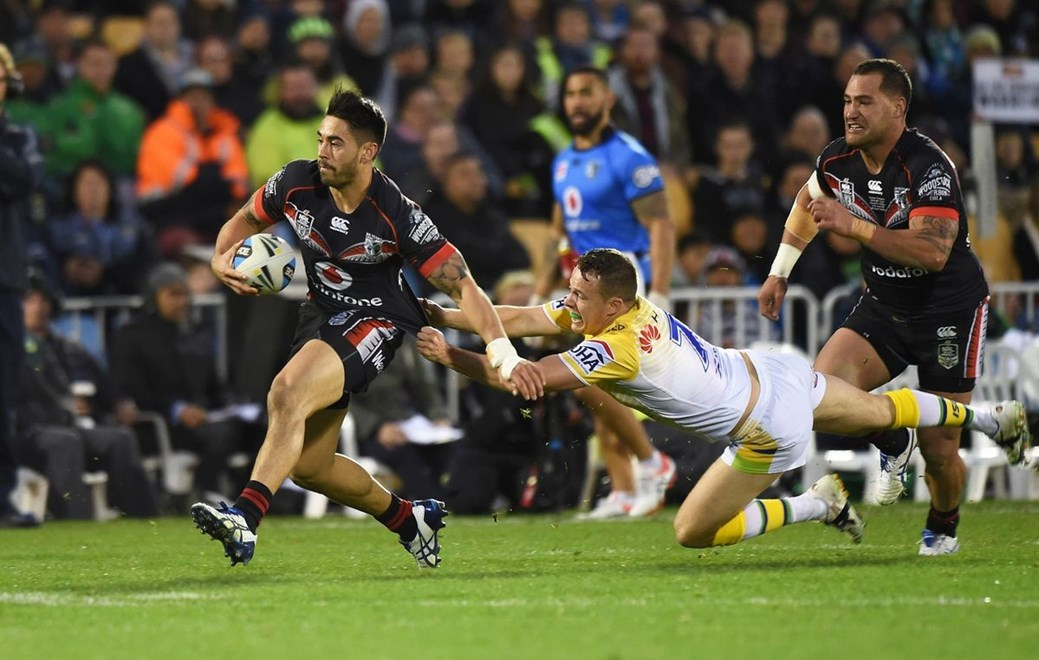 Shaun Johnson during the NRL Rugby League match between the Vodafone Warriors and The Canberra Raiders at Mt Smart Stadium, Auckland, New Zealand. Saturday 27 June 2015. Copyright Photo: Andrew Cornaga / www.Photosport.nz