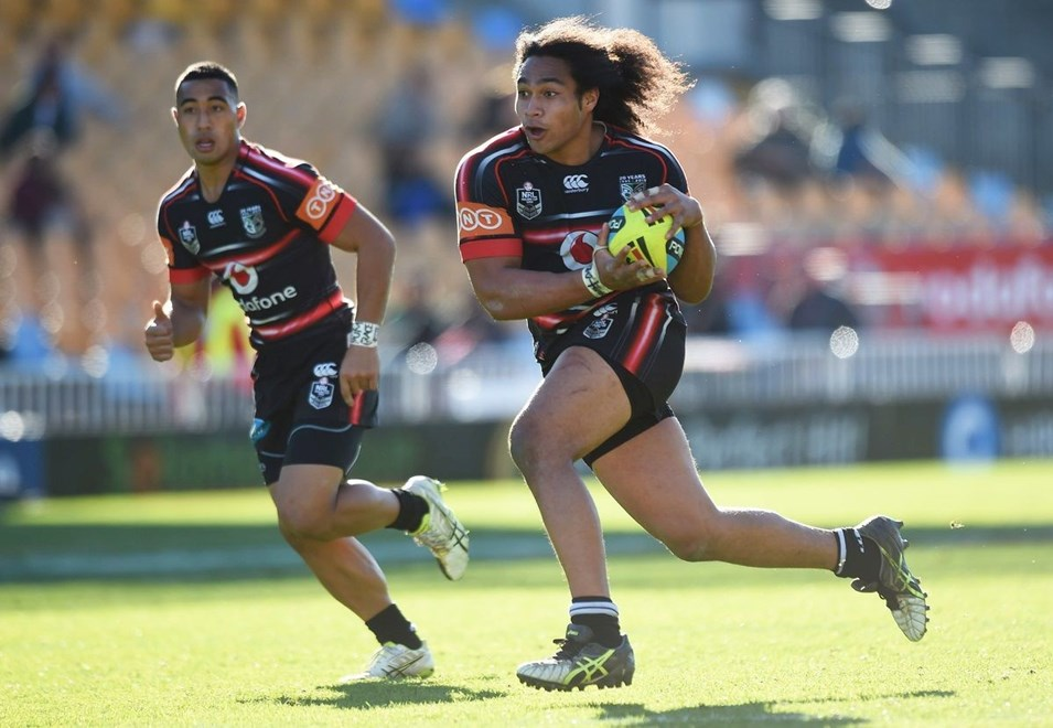 Bunty Afoa during the Junior Warriors v Junior Storm match. NYC Holden Cup U20s Rugby League. Mt Smart Stadium, Auckland. New Zealand. Sunday 12 July 2015. Copyright Photo: Andrew Cornaga / www.Photosport.nz