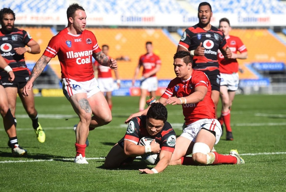 Mason Lino scores a try during the Vodafone Warriors v Illawarra Cutters match. VB NSW Cup Rugby League. Mt Smart Stadium, Auckland. New Zealand. Sunday 12 July 2015. Copyright Photo: Andrew Cornaga/www.Photosport.nz