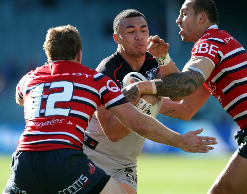 Raymond Faitala-Mariner tackled by Mitchell Aubusson and Blake Ferguson Roosters v Warriors NRL rugby league match at Allianz Stadium, Sydney Australia. Sunday 19 July 2015. Photo: Paul Seiser/Photosport.co.nz
