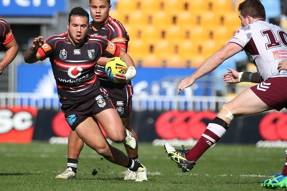 Junior Warriors player Jazz Tevava, left is tackled by Junior Sea EagleNicholas Lynn in the Holden Cup Rugby League, Vodafone Warriors v Manly Sea Eagles at Mt Smart Stadium, Auckland, New Zealand. 25 July 2015. Copyright Photo: Fiona Goodall / www.photosport.nz