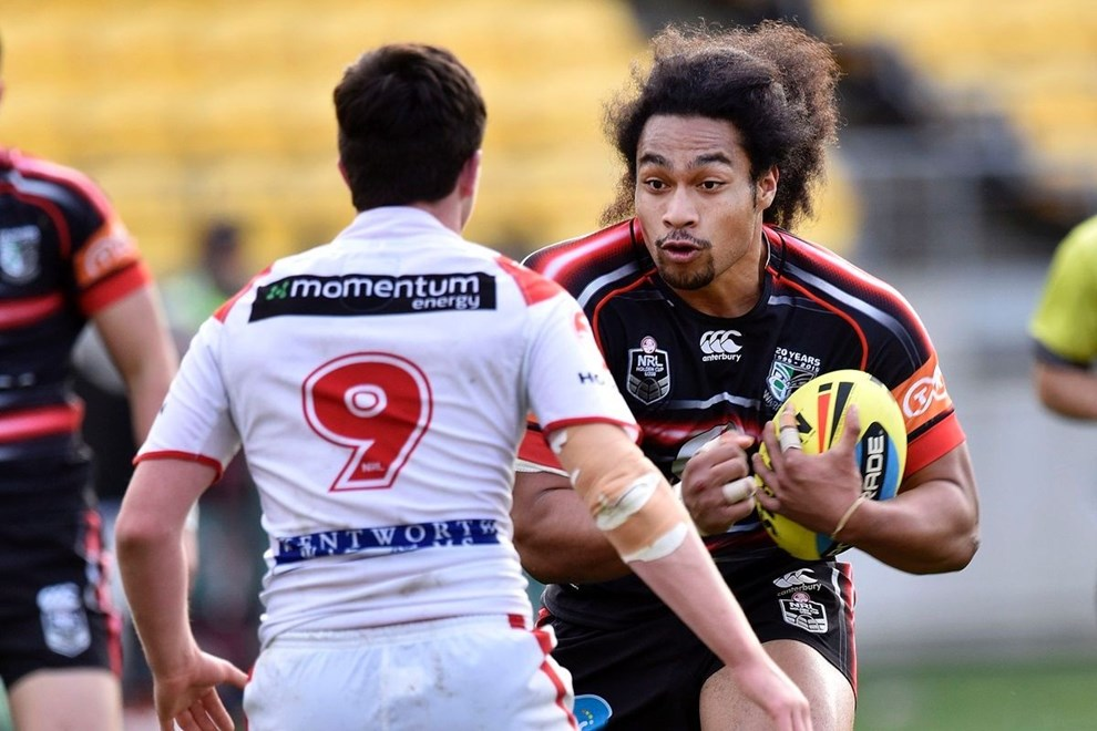 Bunty Afoa (R of the Junior Warriors faces Ryan Fletcher of the Junior Dragons during the NRL Rugby League Holden Cup match between the Junior Warriors & Junior Dragons at the Westpac Stadium in Wellington on Saturday the 8th August 2015. Copyright Photo