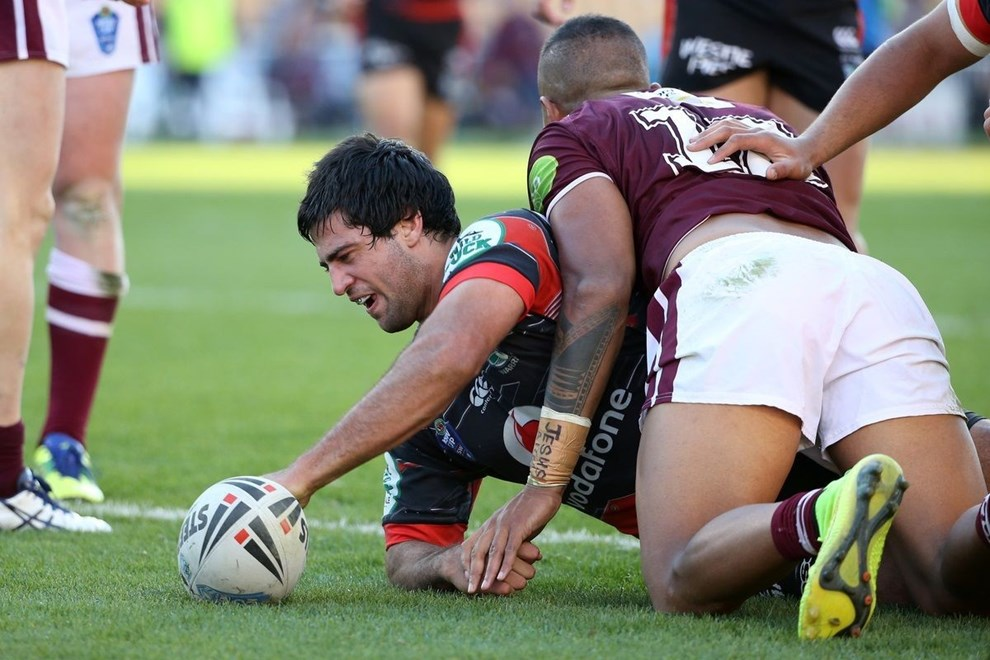 NZ Warriors player David Bhana scores a try  in the NSW Cup Rugby League, NZ Warriors v Sea Eagles at Mt Smart Stadium, Auckland, New Zealand. 25 July 2015. Copyright Photo: Fiona Goodall / www.photosport.nz