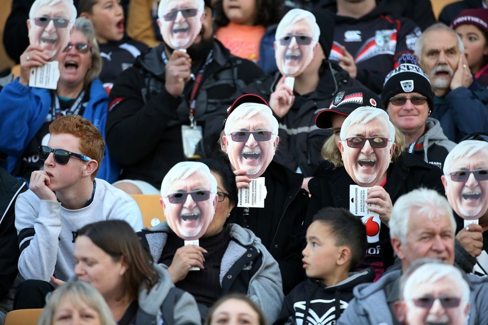 Fans get into the spirit of the Mad Butcher appreciation day in the NRL Rugby League, Vodafone Warriors v Cronulla Sharks at Mt Smart Stadium, Auckland, New Zealand 1 August 2015. Copyright Photo: Fiona Goodall / www.photosport.nz