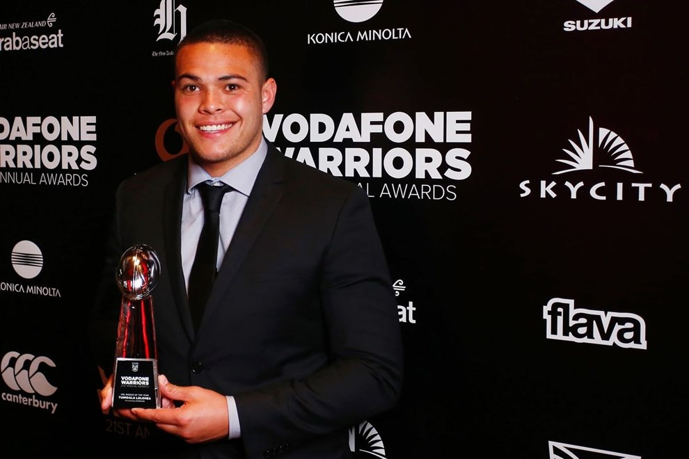 Tuimoala Lolohea, NRL Rookie of the Year. Vodafone Warriors 21st Annual Awards, Sky City Auckland, Tuesday 15th September 2015. Photo: Shane Wenzlick / www.photosport.nz