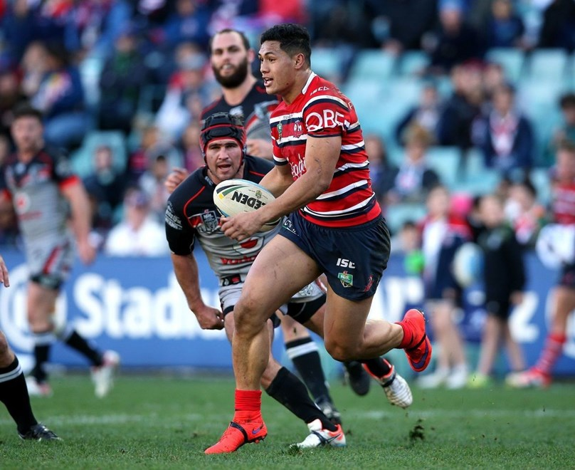 Roger Tuivasa-Sheck on the run Roosters v Warriors NRL rugby league match at Allianz Stadium, Sydney Australia. Sunday 19 July 2015. Photo: Paul Seiser/Photosport.co.nz