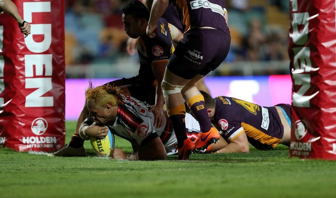 Touchdown for big Vodafone Junior Warriors prop Paul Tuli, his first NYC career try. Image | Grant Trouville, nrl.com