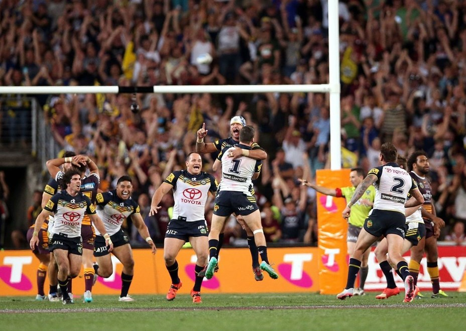 Johnathan Thurston celebrates the field goal Broncos v Cowboys NRL Grand Final rugby league match at ANZ Stadium, Homebush Australia. Sunday 4 October 2015. Photo: Paul Seiser/Photosport.nz