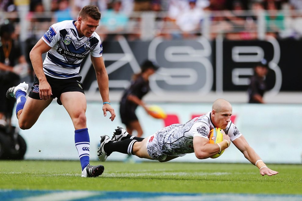 Jeff Robson was among the try scorers in the Vodafone Warriors' first-up win over the Bulldogs at the Downer NRL Auckland Nines. Image | www.photosport.nz