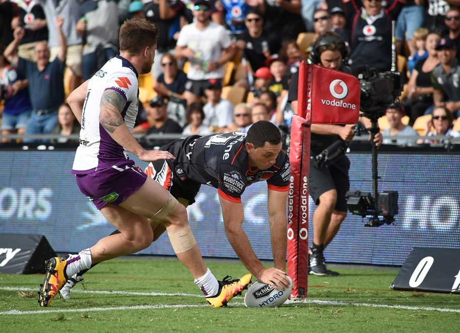 Jonathan Wright dives in for a try during the NRL Rugby League match between the Vodafone Warriors and The Storm at Mt Smart Stadium, Auckland, New Zealand. Sunday 20 March 2016. Copyright Photo: Andrew Cornaga / www.Photosport.nz