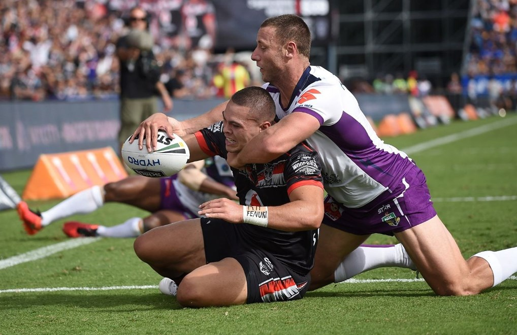 Tuimoala Lolohea scores a try during the NRL Rugby League match between the Vodafone Warriors and The Storm at Mt Smart Stadium, Auckland, New Zealand. Sunday 20 March 2016. Copyright Photo: Andrew Cornaga / www.Photosport.nz