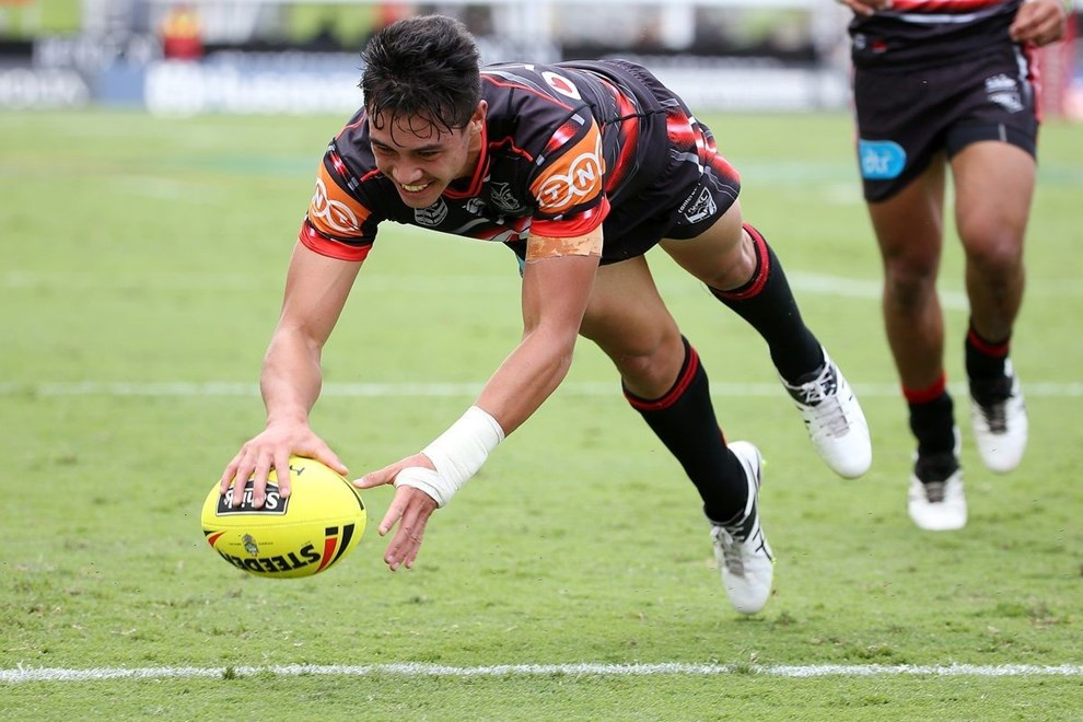 Warrior Kane Telea scores in the Holden Cup match between NZ Warriors and Melbourne Storm at Mt Smart Stadium on Sunday, march 20, 2016. Photo: Fiona Goodall/photosport.nz