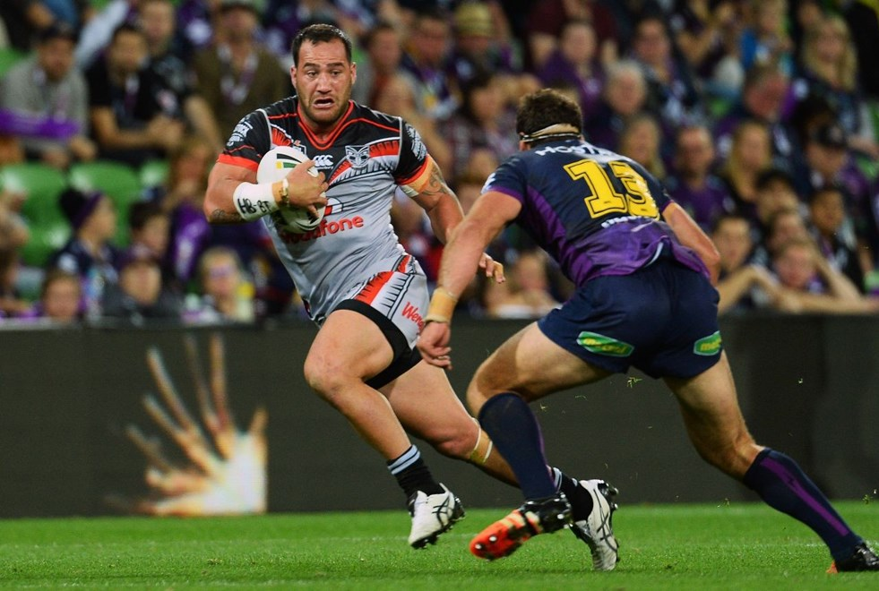 Bodene Thompson during the NRL match between the Storm and Warriors at AAMI Park in Melbourne, Australia. Anzac Day, Monday 25 April 2016. © Copyright Image: Jeff Crow / www.photosoprt.nz