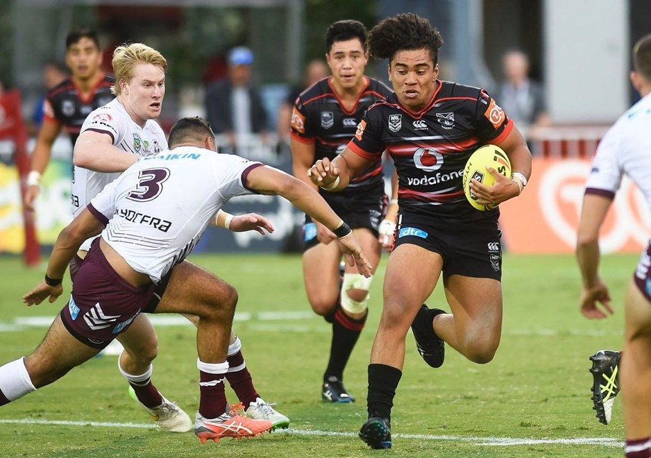 ISAIAH PAPALII. NRL Holden Cup, Juniors U20's. Warriors v Sea Eagles. Mt Smart Stadium, Auckland, New Zealand. Saturday 9 April  2016. Copyright Photo: Andrew Cornaga / www.Photosport.nz