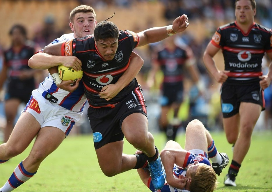 Jerome Mamea on the attack. NRL Holden Cup, Juniors U20's. Warriors v Knights. Mt Smart Stadium, Auckland, New Zealand. Monday 28 March 2016. Copyright Photo: Andrew Cornaga / www.Photosport.nz