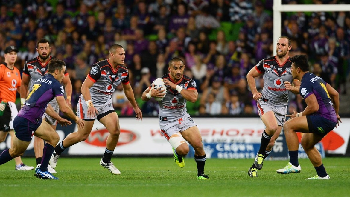 Thomas Leuluai during the NRL match between the Storm and Warriors at AAMI Park in Melbourne, Australia. Anzac Day, Monday 25 April 2016. © Copyright Image: Jeff Crow / www.photosoprt.nz