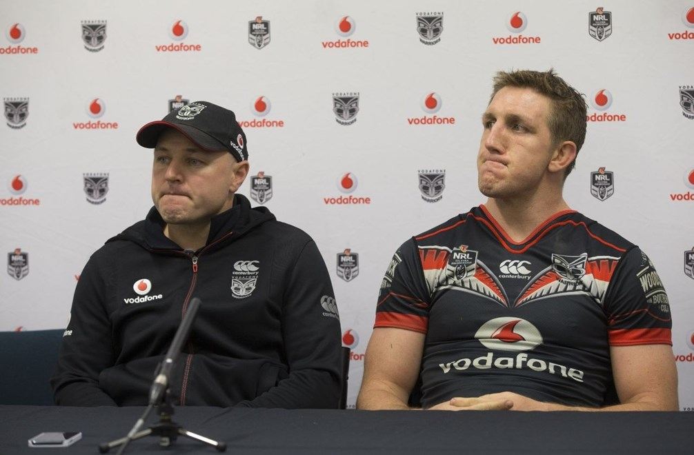 Warrior's coach Andrew McFadden and captain Ryan Hoffman at the post match press conference. NRL Rugby League match between the Vodafone Warriors and Canberra Raiders, Yarrow Stadium, New Plymouth,  New Zealand. Saturday, 21 May, 2016. Copyright photo: John Cowpland / www.photosport.nz