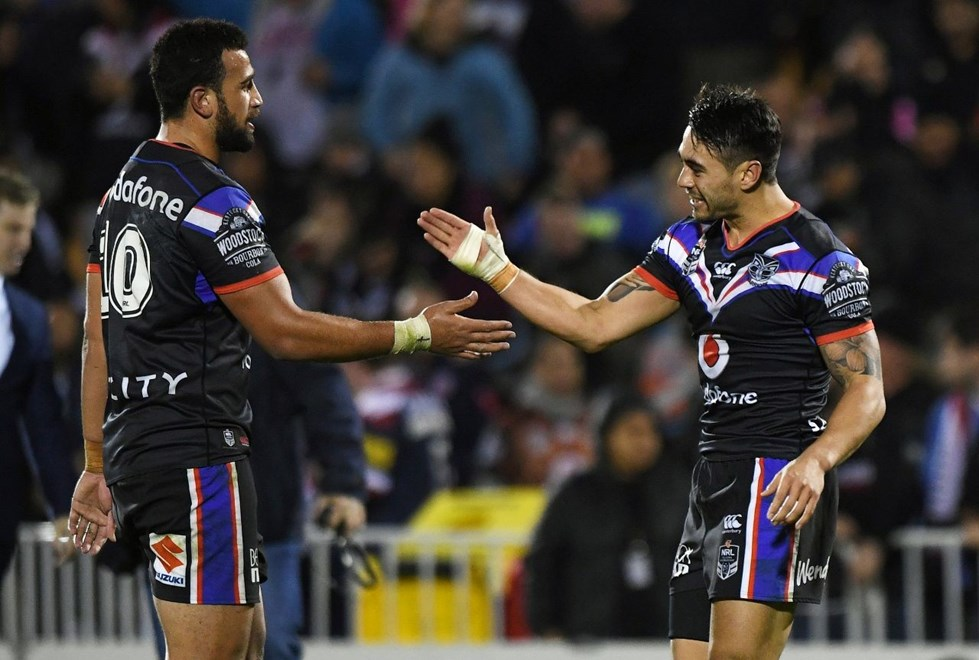 Ben Matulino and Shaun Johnson celebrate the win. Vodafone Warriors v Sydney Roosters. NRL Rugby League. Mt Smart Stadium, Auckland, New Zealand. Sunday 19 June 2016. © Copyright Photo: Andrew Cornaga / www.Photosport.nz
