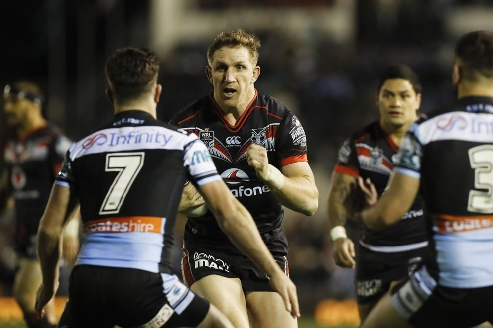 Ryan Hoffman on the attack for the Warriors, Cronulla Sharks v Vodafone New Zealand Warriors. NRL Rugby League, Southern Cross Group Stadium, Sydney, Australia. 25 June 2016. Copyright Image: Mitch Cameron/www.photosport.nz