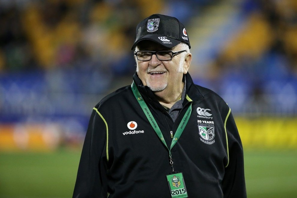 Mad Butcher Sir Peter Leitch is honoured in the NRL Rugby League, Vodafone Warriors v Cronulla Sharks at Mt Smart Stadium, Auckland, New Zealand 1 August 2015. Copyright Photo: Fiona Goodall / www.photosport.nz