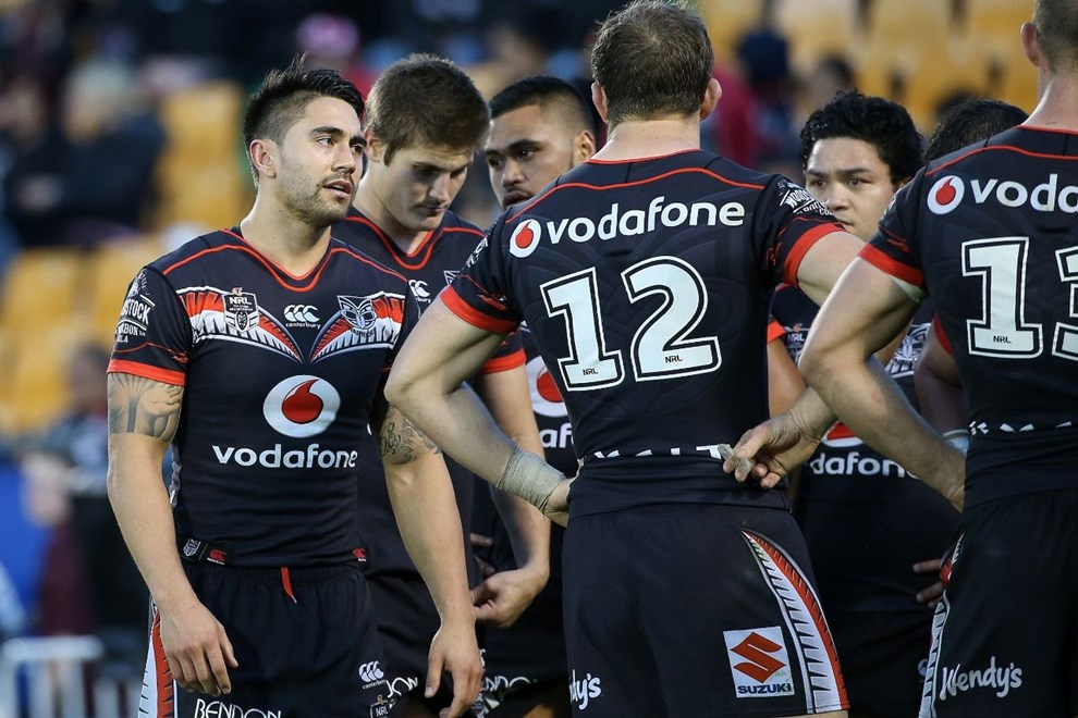 Shaun Johnson reacts to the loss during the NRL match Warriors v West Tigers at Mt Smart Stadium on Sunday 28 August 2016. Auckland, New Zealand. © Copyright Photo: Fiona Goodall / www.photosport.nz