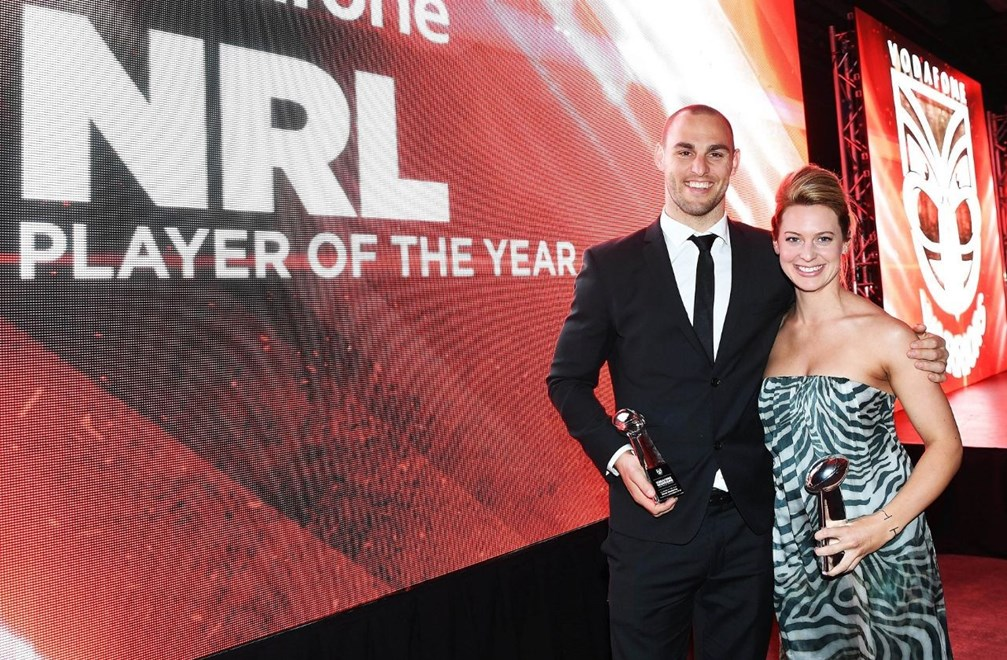 Vodafone Warriors NRL Player of the Year, Simon Mannering and partner Anna. Vodafone Warriors Awards 2016. NRL Rugby League. Shed 10, Auckland, New Zealand. Tuesday 13 September 2016. © Copyright Photo: Andrew Cornaga / www.Photosport.nz