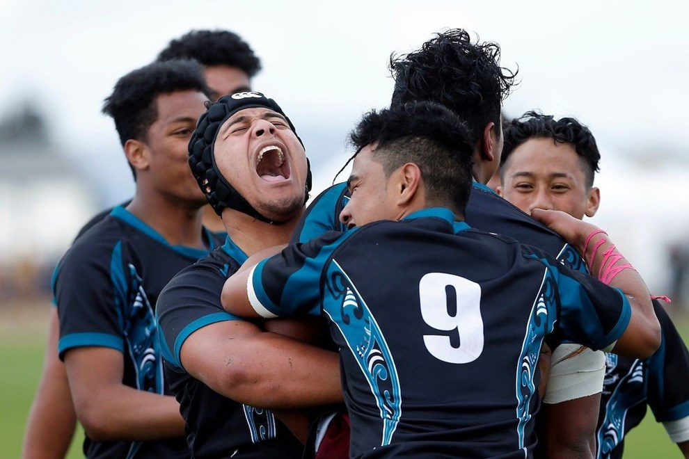 Southern Cross celebrate the winning try, Premiership semifinal, St Pauls College v Southern Cross Campus, Day four of the National Secondary Schools Rugby League Tournament at Bruce Pulman Park, Auckland, 1 September 2016. Copyright Photo: William Booth / www.photosport.nz