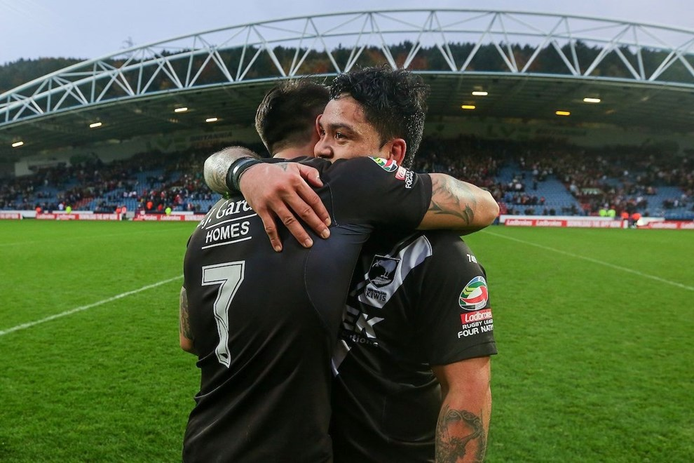 29/10/16 - Rugby League - 2016 Ladbrokes Four Nations - England v New Zealand - The John Smith's Stadium, Huddersfield, England - New Zealand's Issac Luke and Shaun Johnson celebrate the win. Copyright photo: Alex Whitehead / www.photosport.nz