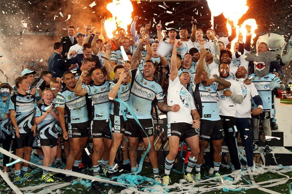 Cronulla Sharks team celebrations as Paul Gallen lifts the Proven-Summons Trophy Storm v Sharks NRL rugby league Grand Final match at ANZ Stadium, Homebush Australia. Saturday 2 October 2016. Photo: Paul Seiser / www.photosport.nz