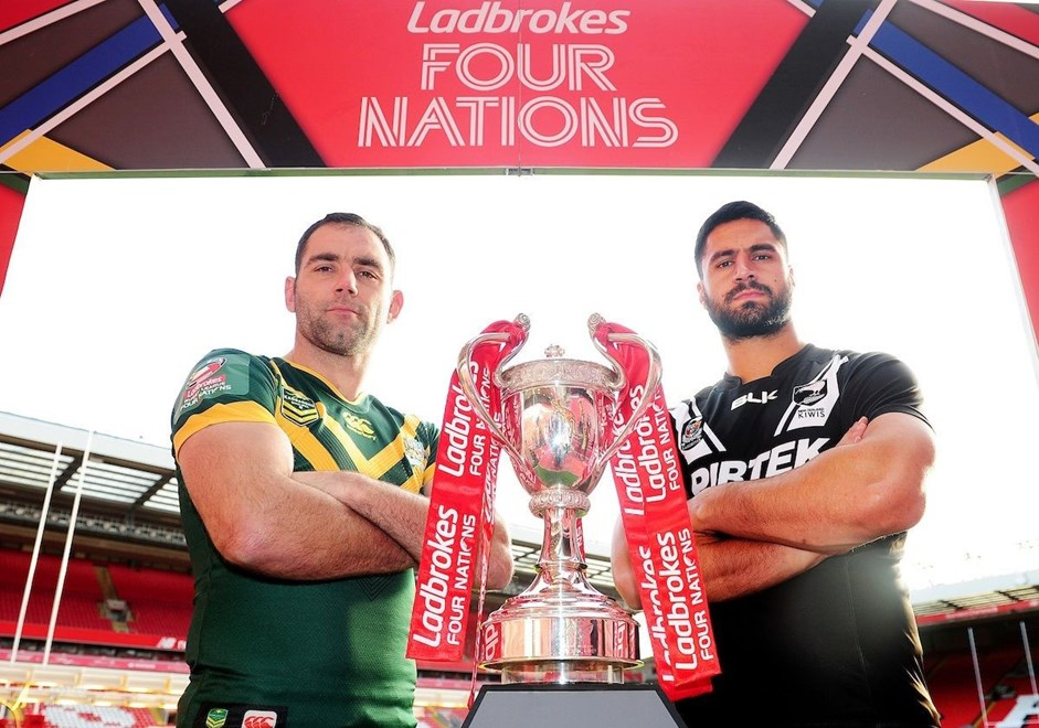 Ladbrokes 4 Nations International Rugby League - Final preview Anfield, Liverpool - Cameron Smith, Australia and Jesse Bromwich ( New Zealand ) The Kop. 15 November 2016. Photo: SWPix / www.photosport.nz