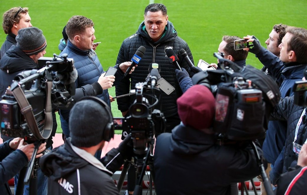 19/11/2016 - Rugby League - Ladbrokes Four Nations Final Preview - Australia v New Zealand - Anfield, Liverpool, England - New Zealand head coach David Kidwell speaks to the media. Copyright photo: Alex Whitehead / www.photosport.nz