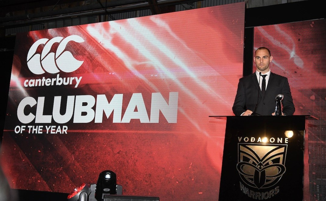 Clubman of the year Simon Mannering. Vodafone Warriors Awards 2016. NRL Rugby League. Shed 10